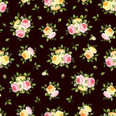 Seamless pattern with pink, orange and yellow roses on brown. Vector illustration. — Stock Vector