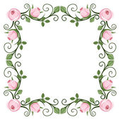 Vintage calligraphic frame with pink roses. Vector illustration. — Stock Vector