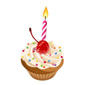 Birthday cupcake with cream, cherry, sprinkles and candle. Vector illustration. — Stock Vector