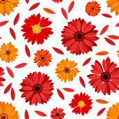 Seamless pattern with red and orange gerbera flowers and petals. Vector illustration. — Stock Vector