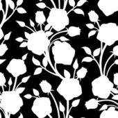 Seamless white pattern with roses on a black background. Vector illustration. — Stock Vector
