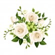 Bouquet of white roses and freesia flowers. Vector illustration. — Stock Photo #50647419