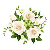 Bouquet of white roses and freesia flowers. Vector illustration. — Stock Photo