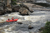 Quebec, kayaker in the Parc du Trou de la Fee in Desbiens — Stock Photo