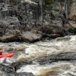 Quebec, kayaker in the Parc du Trou de la Fee in Desbiens - Stock Photo