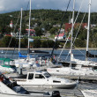 Quebec, boats in the port of Tadoussac — Stockfoto