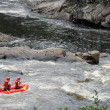 Stock Photo: Canada, kayaker in Parc du Trou de lFee in Desbiens