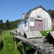Quebec, old house in l Anse Blanchet in the Parc National du For - Stock Photo
