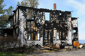 Canada, Quebec,an old charred house in Sainte Madeleine de la Ri — Stock Photo