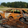 Stock Photo: Canada, Quebec, charred car