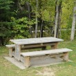 Quebec, table and bench in Matapedia — Stock Photo