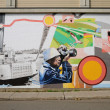 Quebec, wall painting in the city of Montmagny - Stock Photo