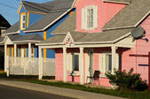 Blue and pink houses — Stock Photo