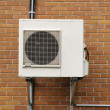 Stock Photo: Air conditioning unit outside in Quebec