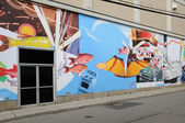 Quebec, wall painting in the city of Montmagny — Stockfoto
