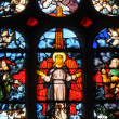 Stained glass window in the church Saint Martin of Triel — Stok fotoğraf