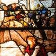 Stained glass window in the church Saint Martin of Triel - Stockfoto