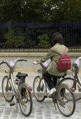 Velib in Paris, public bicycle rental — Stock Photo
