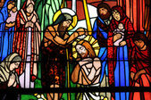 Stained glass window of Vermand church in Picardie — Stock Photo