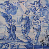 Blue azulejos on a house in Obidos — Stock Photo