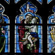 Yvelines, stained glass window in Poissy collegiate church — Stock Photo