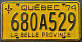 Close up of a Quebec number plate — Stock Photo