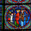 Foto Stock: Yvelines, stained glass window in Poissy collegiate church