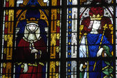 Stained glass window in the collegiate church of Mantes La Jolie — Stock Photo