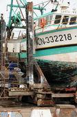 Porto di pescatori di port en bessin in normandia — Foto Stock