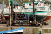 Portu rybackiego w porcie en bessin w normandii — Zdjęcie stockowe