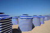 Normandie, blue tents on the beach of Cabourg — Stock Photo