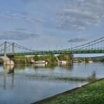 法国、 悬索桥王安石 sur 塞纳河畔 — 图库照片
