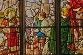 Francja, witraż w kościele saint martin triel — Zdjęcie stockowe