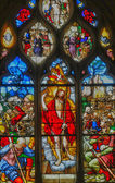 France, stained glass window in the Saint Martin church of Triel — Stock Photo