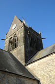 Church of Sainte mere Eglise in Normandie — Stok fotoğraf