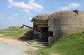 Bateria de artilharia de longues sur mer, na Baixa Normandia — Fotografia Stock