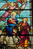 Stained glass window in the church of Houlgate in Normandy — Stock Photo