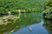Perigord, canoeing on Dordogne river in Castelnaud la Chapelle — Stock Photo