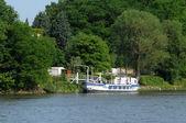 France, barge on Seine river in Triel Sur Seine — Stock Photo