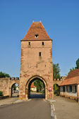 France, medieval tower in the picturesque village of Rosheim — Stock Photo