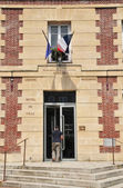 France, the picturesque city hall of Rosny sur Seine — Stock Photo