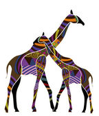 Two giraffes in the ethnic style on a white background — Stock Vector