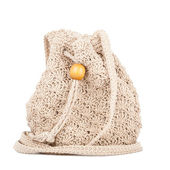 Beige knitted handbag — Stock Photo