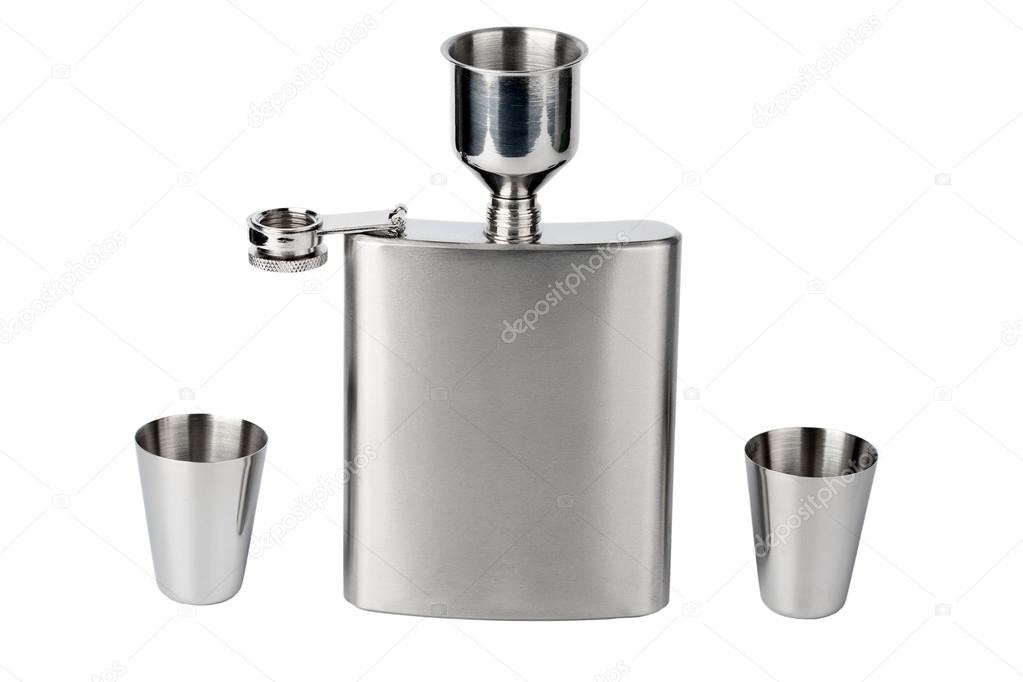Hip flask with cups and funnel — Stock Photo #13494692