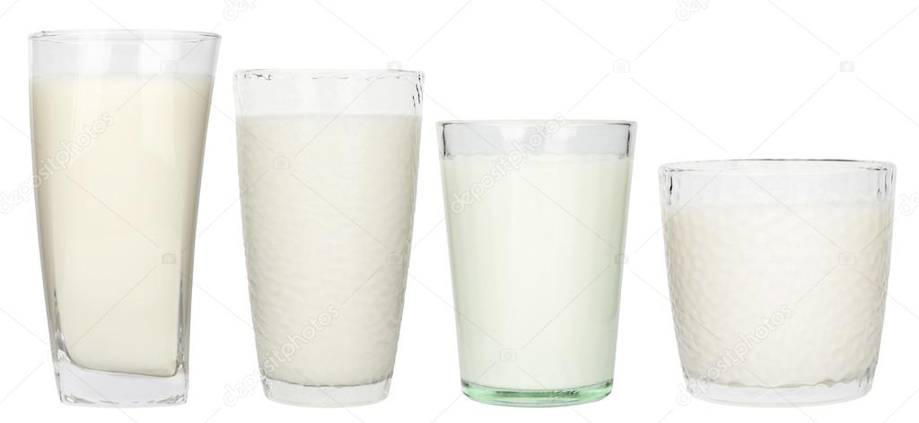 Glasses of milk isolated on white background  — Stock Photo #14671677