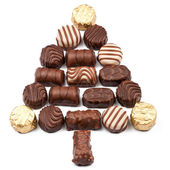 Fir made of chocolate candies — Stock Photo