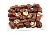 Plate of chocolates — Stock Photo