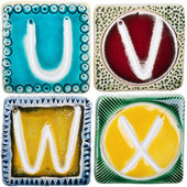 Handmade ceramic letters — Stock Photo