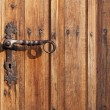 Ancient door handle on old door - Stockfoto