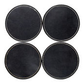 Leather table coasters — Stock Photo
